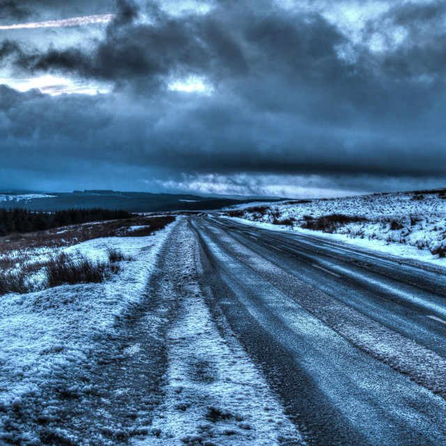 """A Gloomy Winter Road"" stock image"