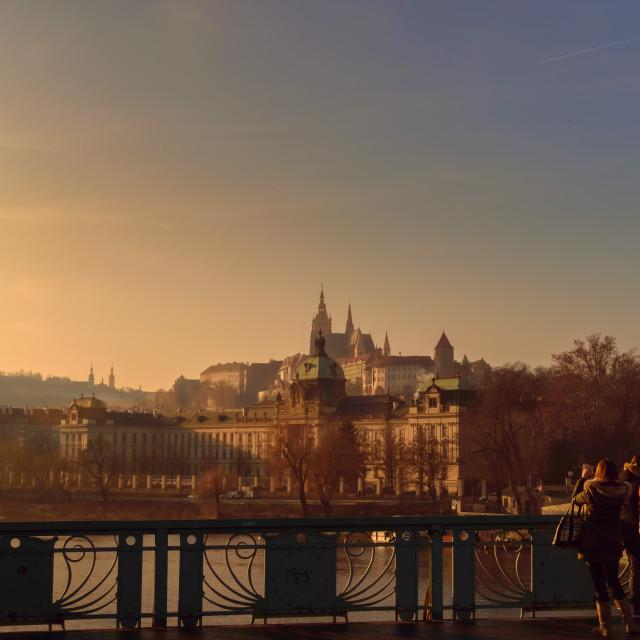 """Prague bridge over Vltava river"" stock image"