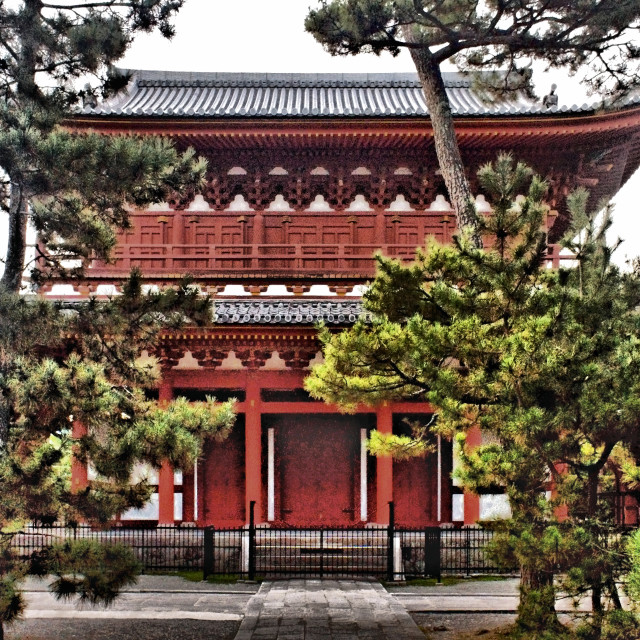 """""""Red temple behind the trees"""" stock image"""