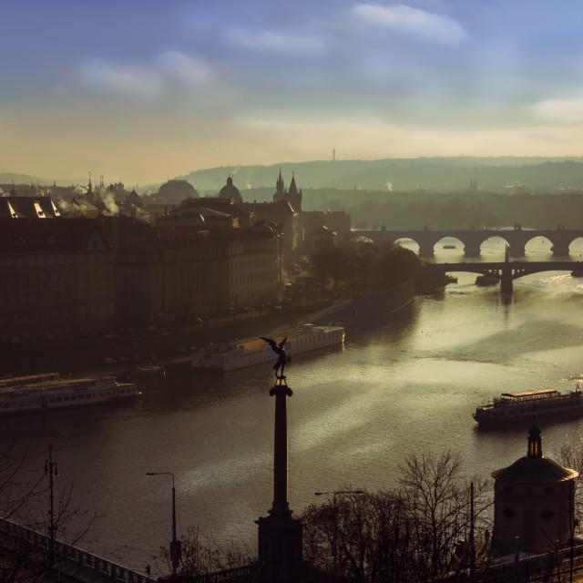 """Prague bridges over the Vltava river"" stock image"