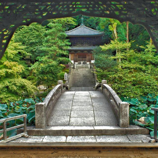 """Temple over the bridge"" stock image"