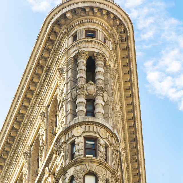 """""""Flat Iron building facade from Broadway"""" stock image"""