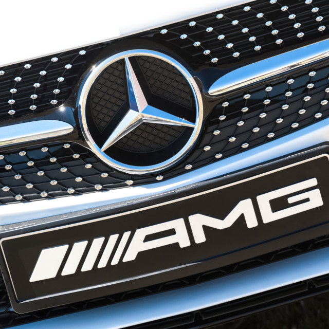 """Mercedes AMG nameplate"" stock image"