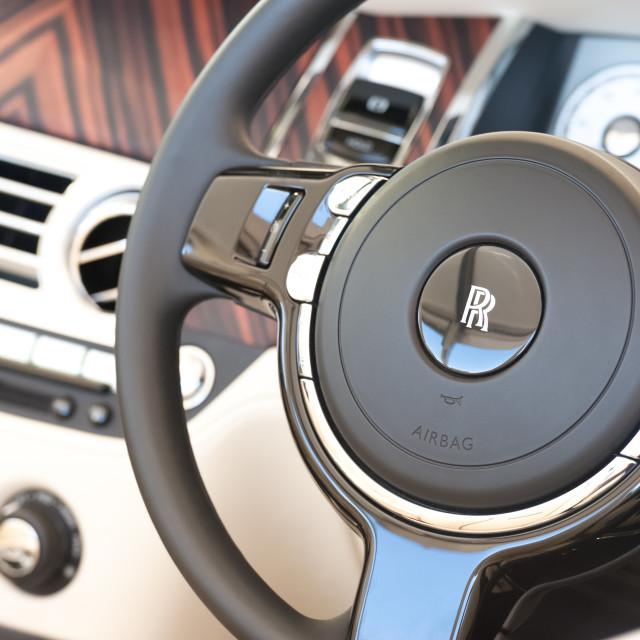 """Rolls Royce vehicle interior"" stock image"