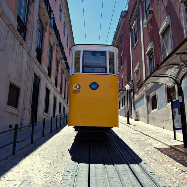 """Yellow tram in Lisbon"" stock image"