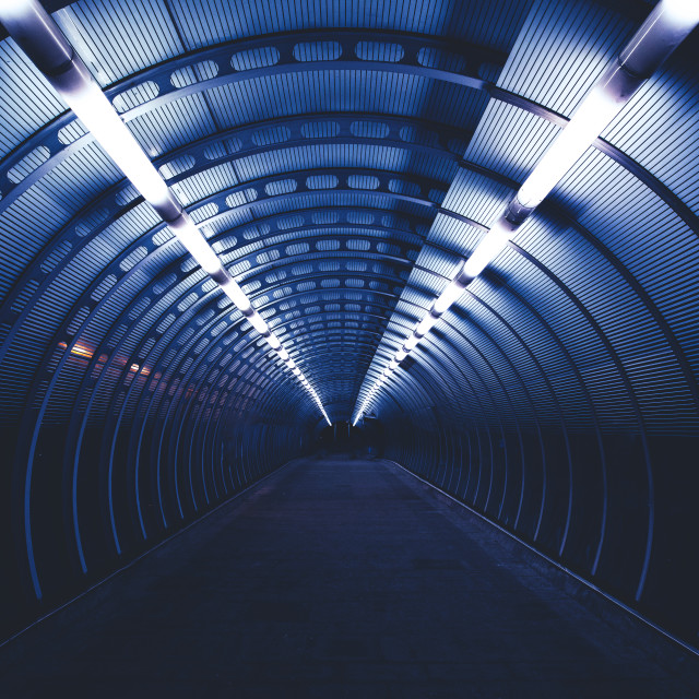 """City night tunnel"" stock image"