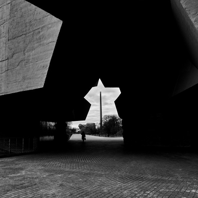 """Brest, Belarus - December 28, 2016: The Main Entrance with carved five-pointed star to War Memorial Complex Brest-Hero-Fortress , black-white."" stock image"