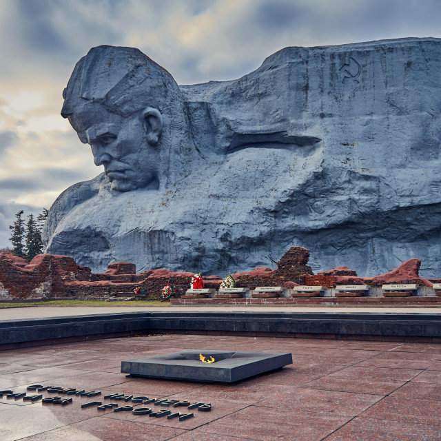 """Brest, Belarus - December 28, 2016: The eternal fire and Main Monument Bravery in War Memorial Complex Brest Hero-Fortress"" stock image"