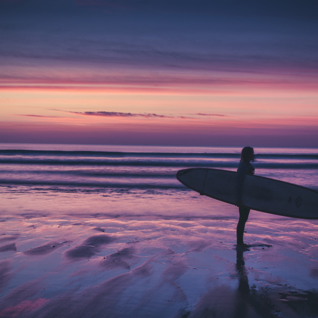 """""""Surfer silhouette at sunset"""" stock image"""