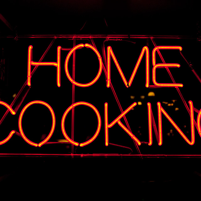 """Home cooking neon sign"" stock image"