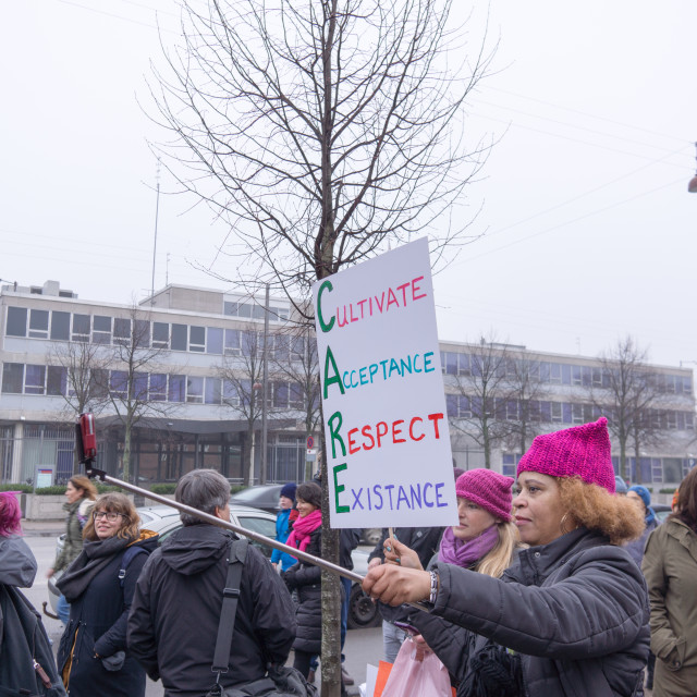 """Protest against Donald Trump in front of US embassy in Copenhage"" stock image"