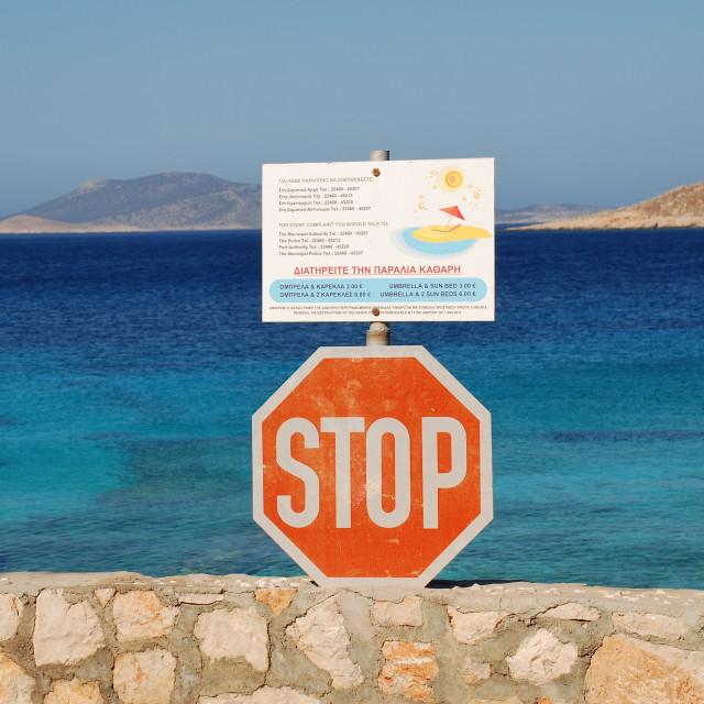 """""""Stop sign at Ftenagia beach, Halki"""" stock image"""