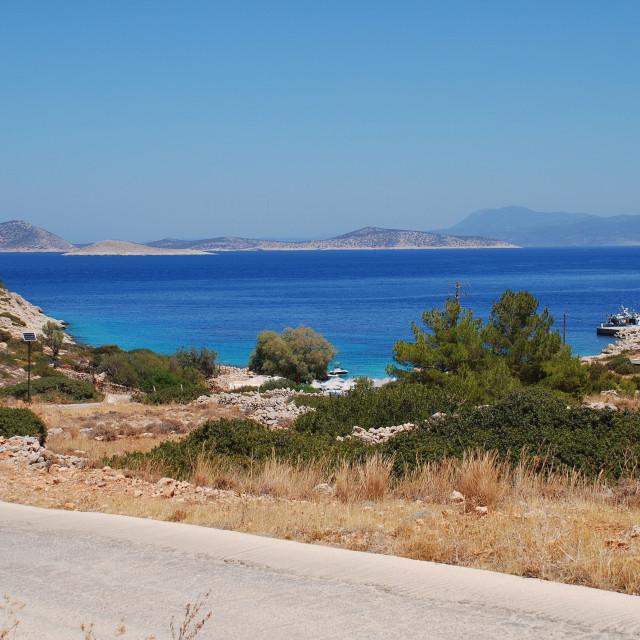 """Kania beach, Halki island"" stock image"