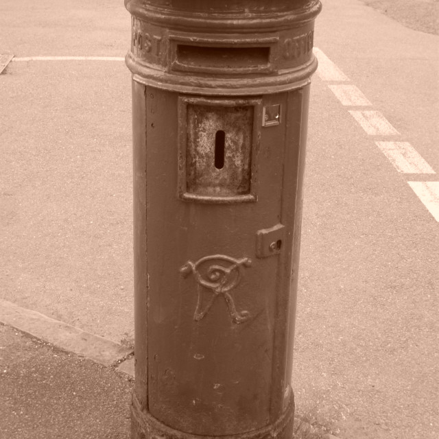 """Victorian pillar box in sepia"" stock image"