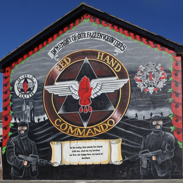 """Red Hand Commando Mural in Bangor"" stock image"