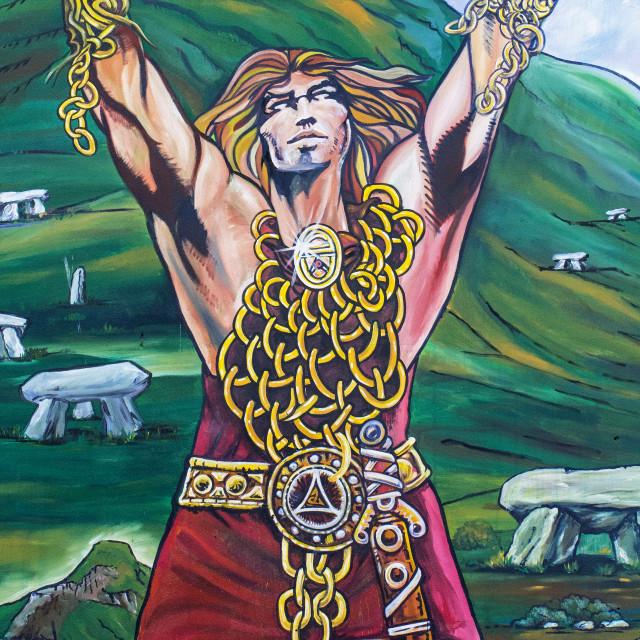 """Cúchulainn Mural in Belfast"" stock image"