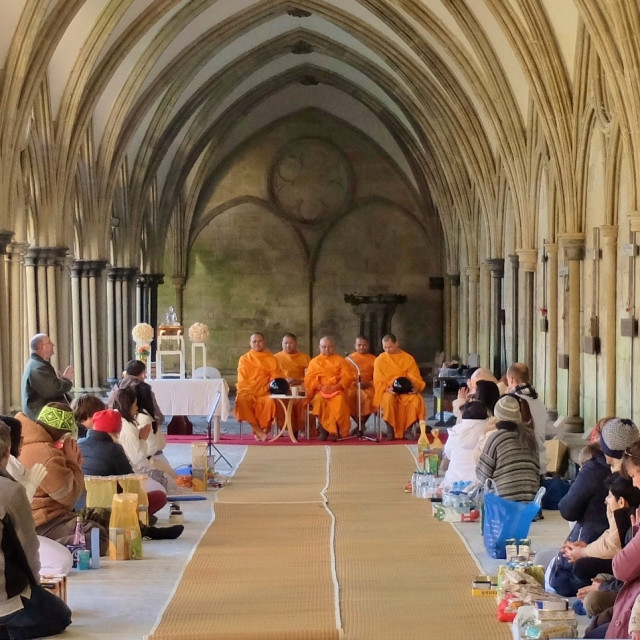 """Buddhist Alms Ceremony at Cathedral."" stock image"