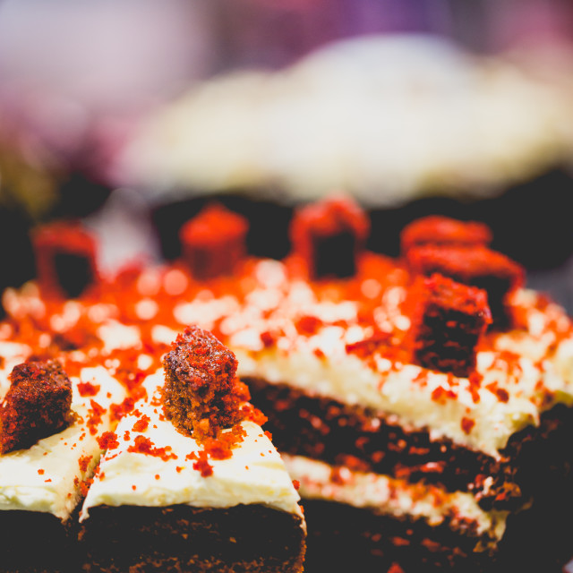 """""""Red Velvet Layer Cake with Cream Cheese Frosting."""" stock image"""