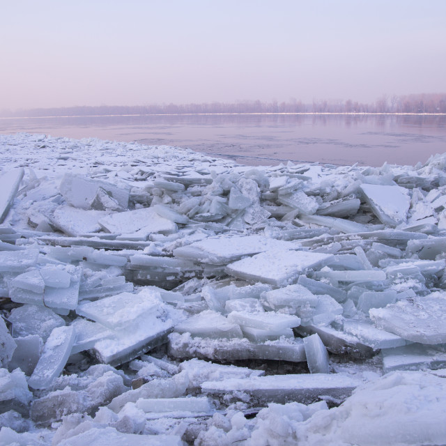 """Lots of ice cubes on the Danube river"" stock image"