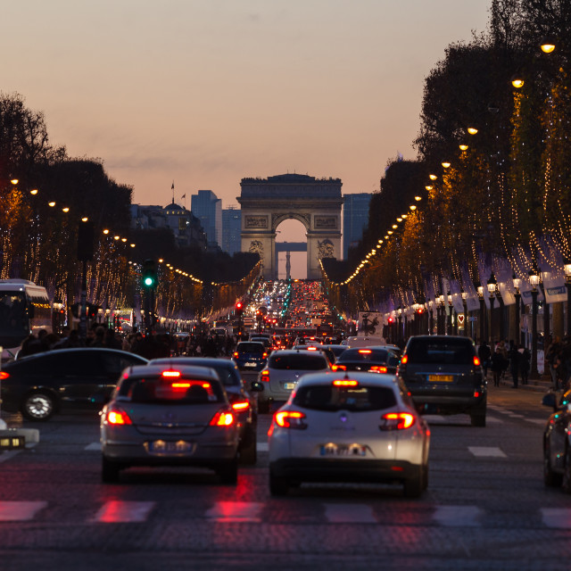 """Traffic jam on Champs Elysees, Arc de Triomphe"" stock image"