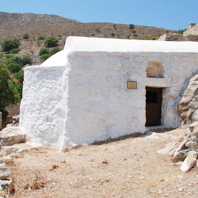 """""""Church of Christ The Saviour, Tilos"""" stock image"""