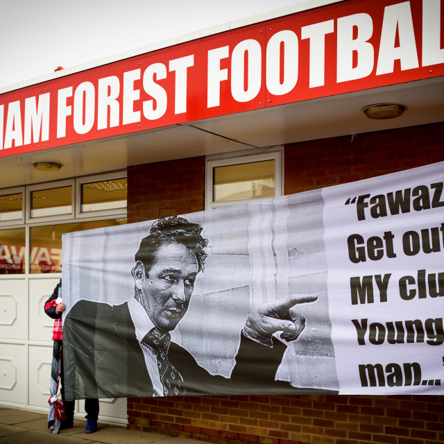 """Fawaz out protest city ground Nottingham,UK."" stock image"