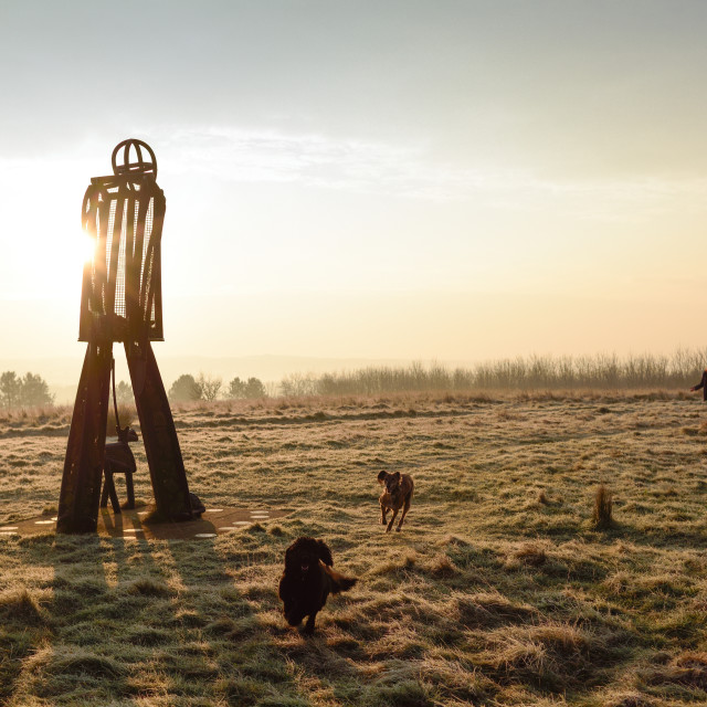 """""""UK Weather:Frosty start to the day in Hucknall."""" stock image"""