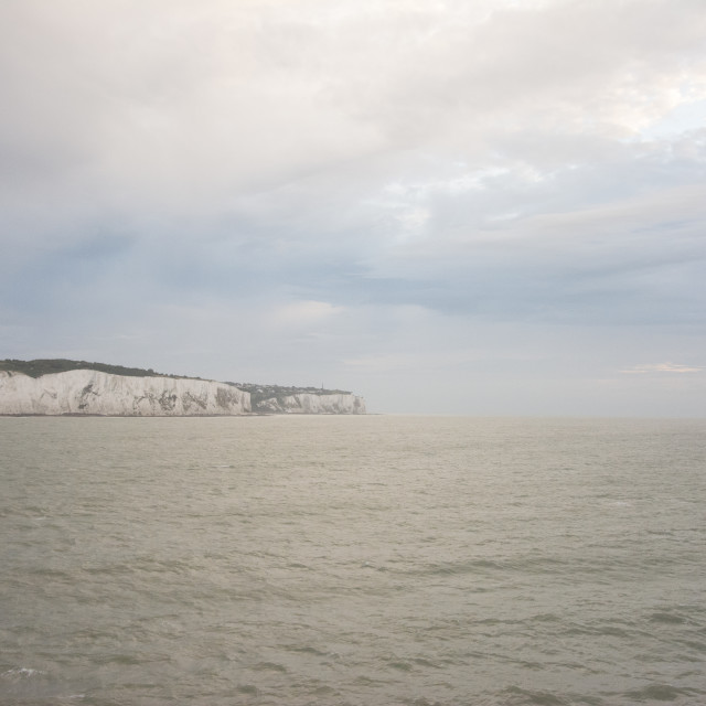 """White cliffs of Dover and the English Channel"" stock image"