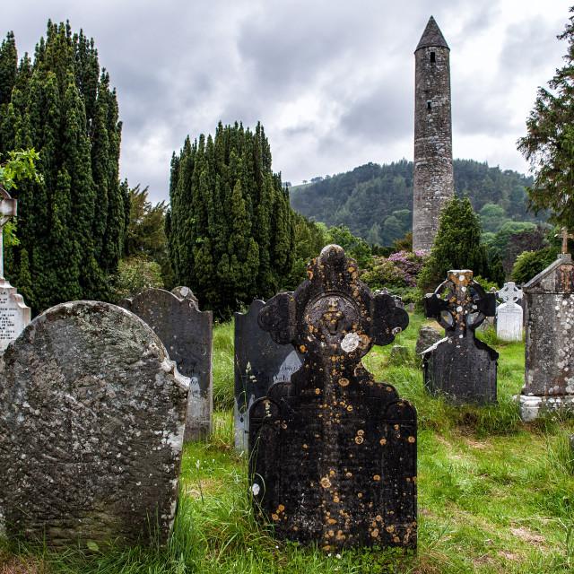 """Glendalough cemetery"" stock image"