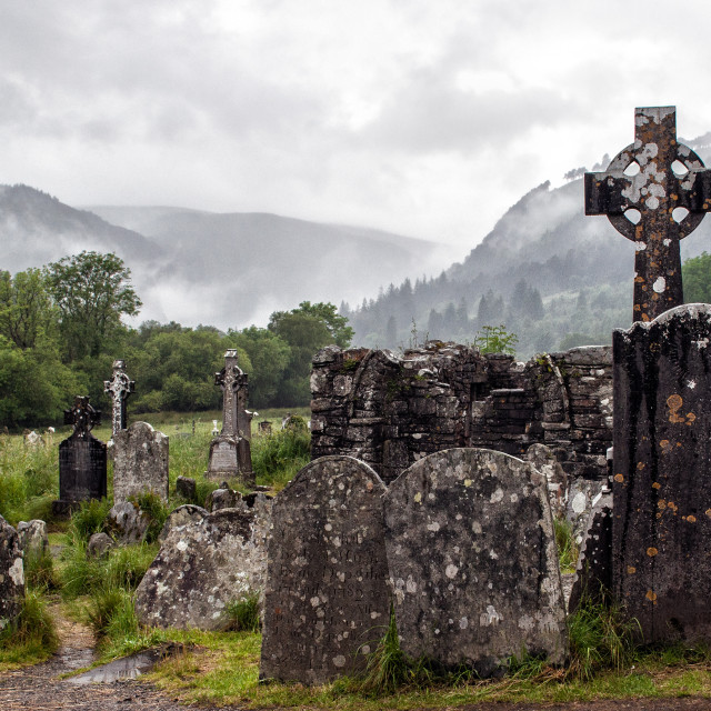 """Glendalough cemetery in Wicklow"" stock image"