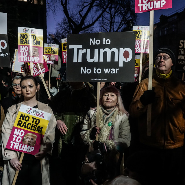 """Anti Trump protestors hold inauguration demonstration at London US Embassy"" stock image"