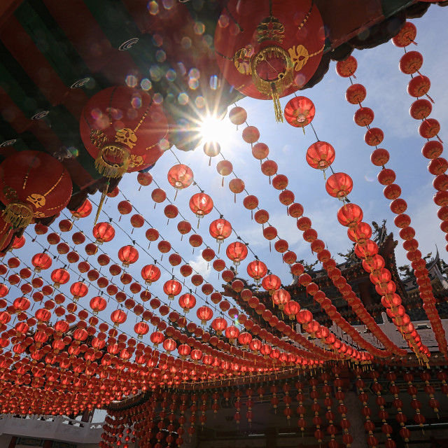 """red lantern as decoration at thean hou temple located in Kuala Lumpur ."" stock image"