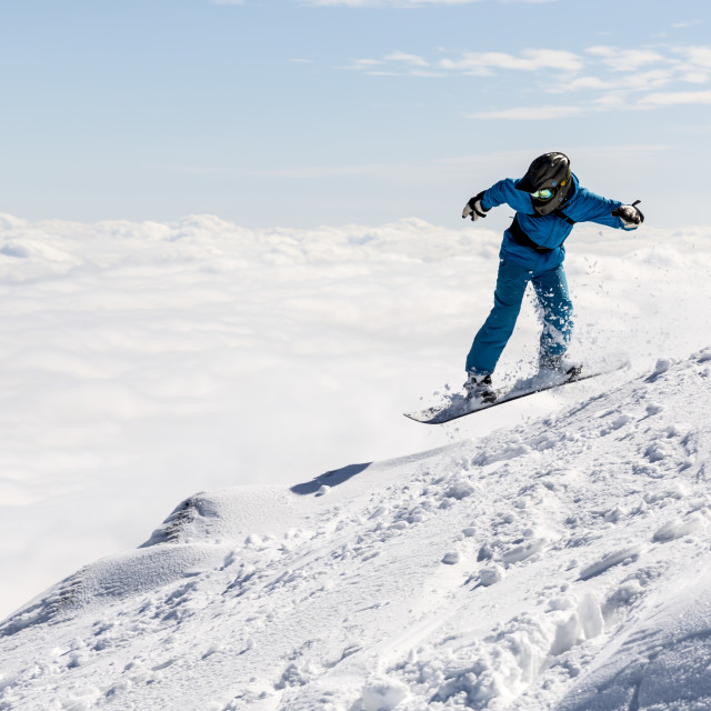 """""""Freestyle snowboarder in the mountain"""" stock image"""