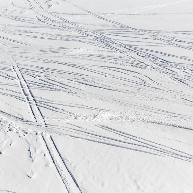 """Ski slope remains traces prints track"" stock image"