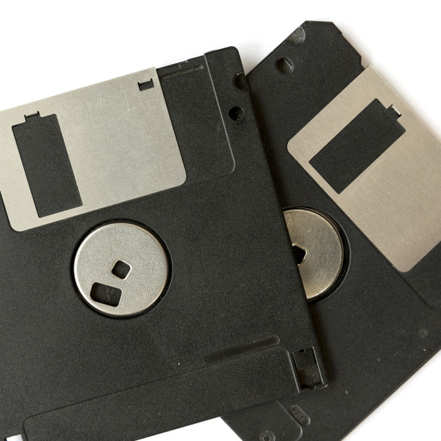 """Two black floppy disks"" stock image"
