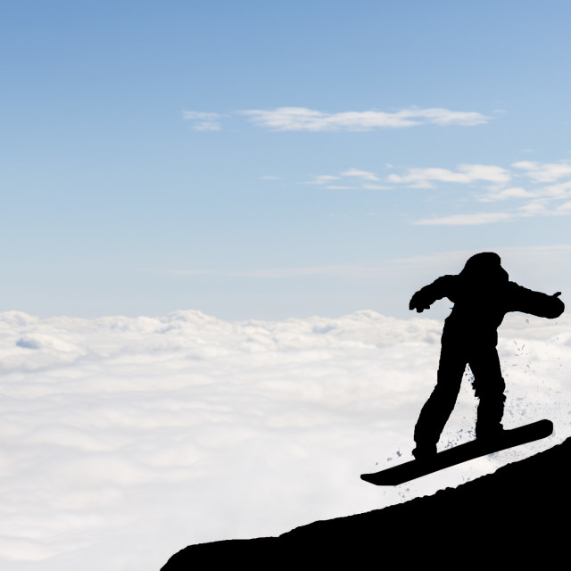 """""""Freestyle snowboarder silhouette"""" stock image"""