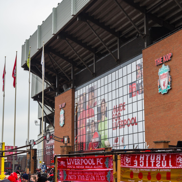 """Outside Anfield on a match day"" stock image"