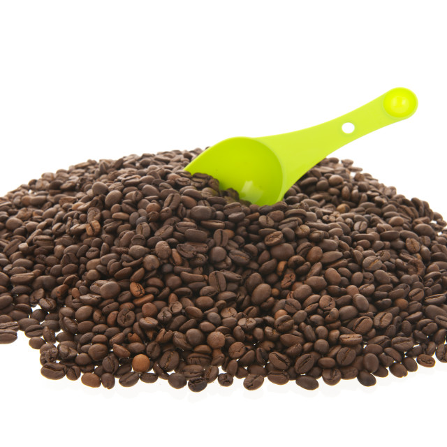 """""""Heap coffee beans isolated over white background"""" stock image"""