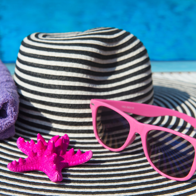 """""""Summer hat at the swimming pool"""" stock image"""