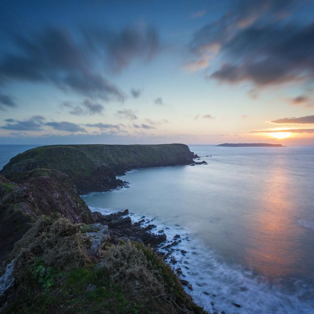 """""""Gateholm Island Sunset - Pembrokeshire"""" stock image"""