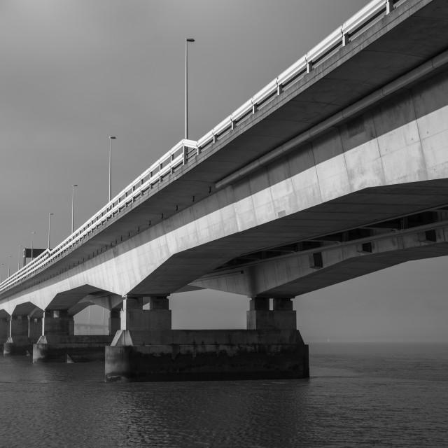 """Severn Crossing at Severn Beach"" stock image"