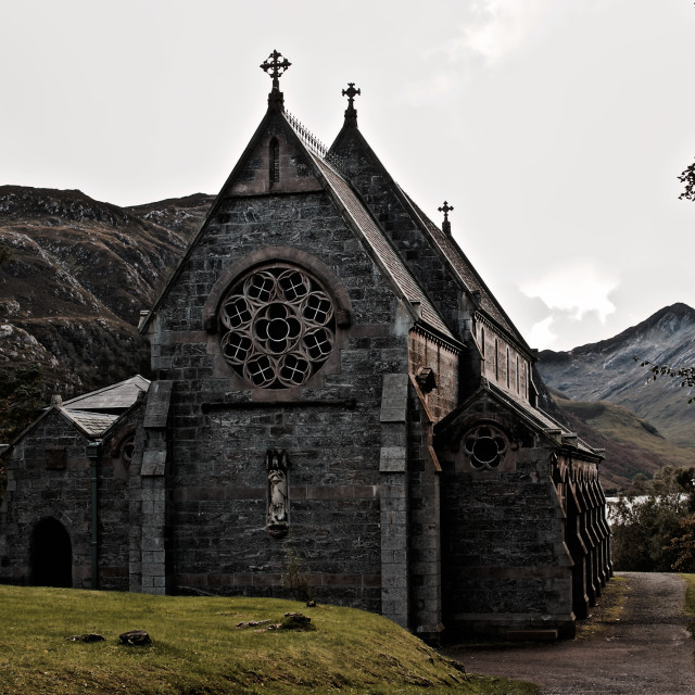 """""""Church of our lady and St Finnan"""" stock image"""