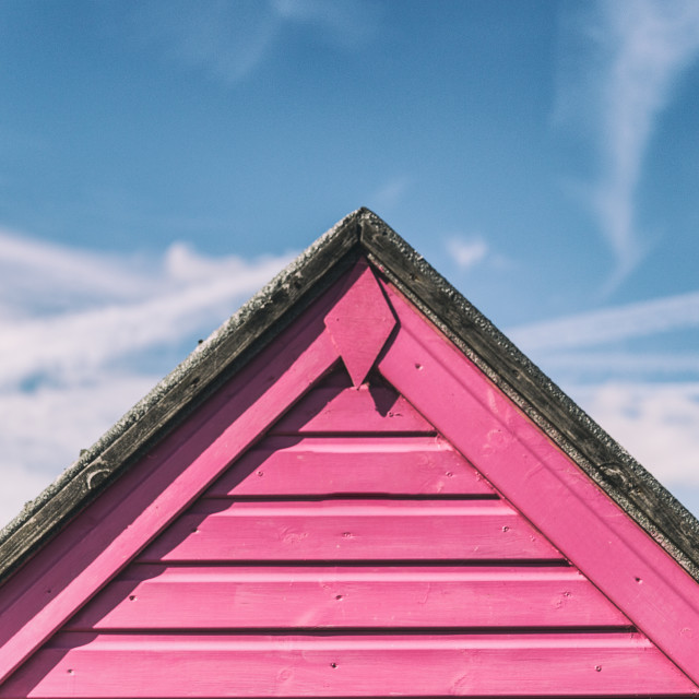 """Pink Beach Hut"" stock image"