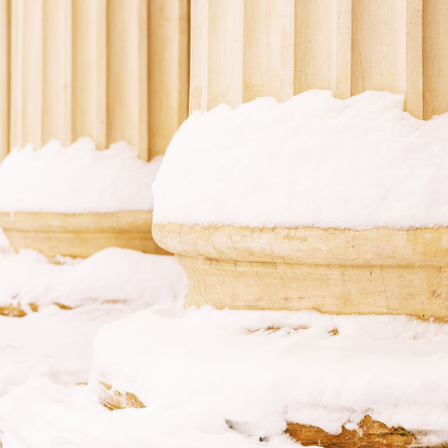 """""""Composite Greek Style Columns In Winter"""" stock image"""