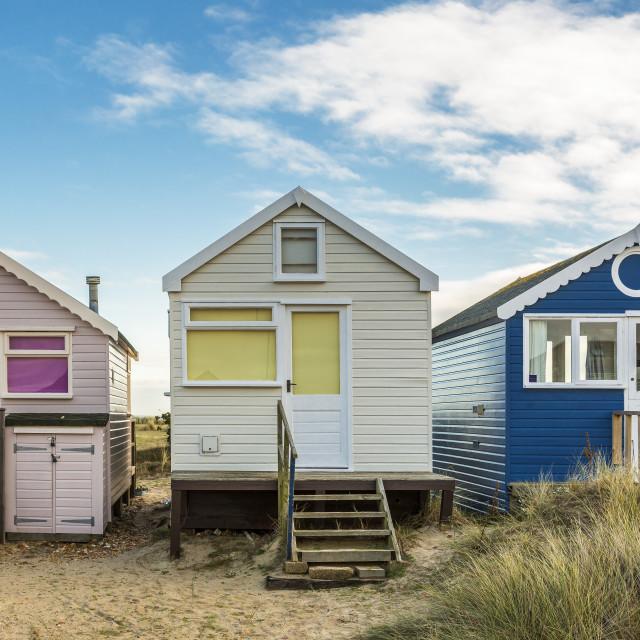 """Three Beach huts"" stock image"