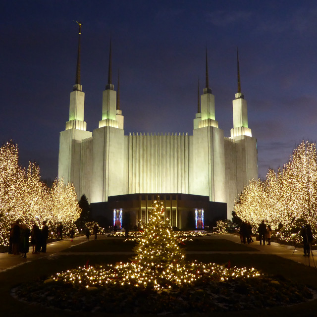 """DC Mormon Temple Christmas Lights"" stock image"