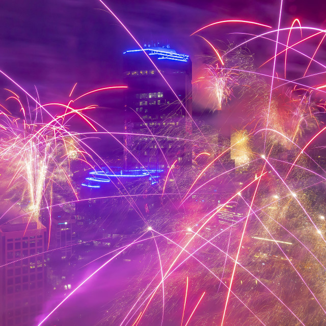 """""""Flying in the middle of the New Year Eve fireworks at Melbourne"""" stock image"""