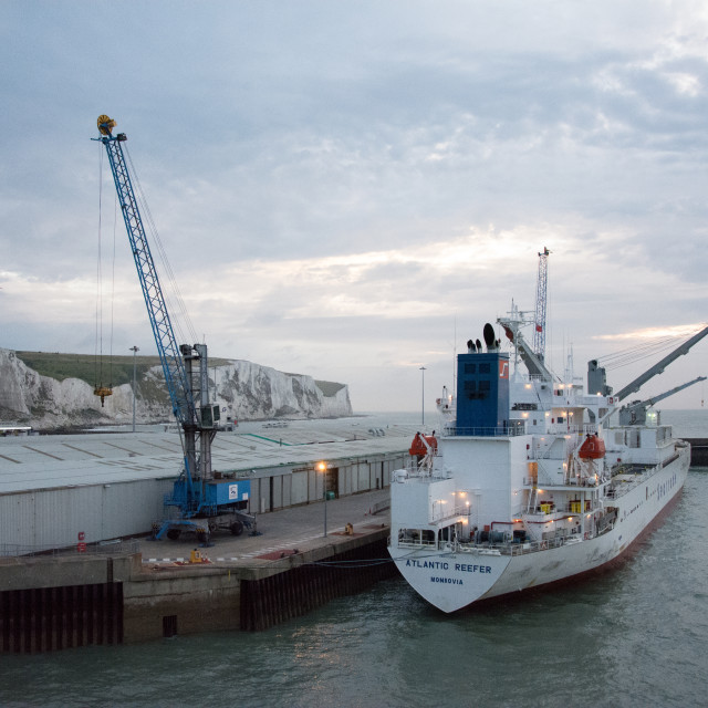 """""""Ship at White cliffs of Dover and the English Channel"""" stock image"""
