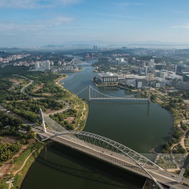 """Aerial view of Putrajaya and surrounding area of Putrajaya"" stock image"