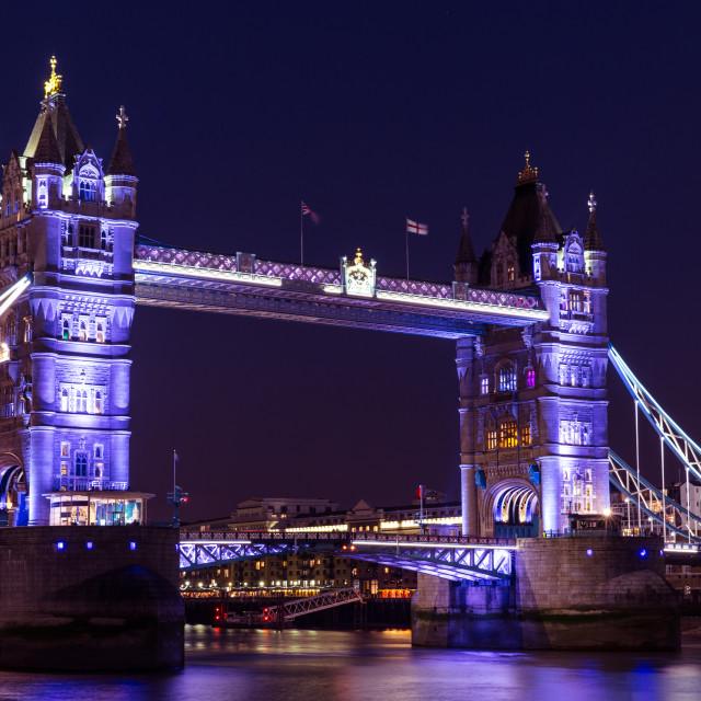 """Tower Bridge in London at night"" stock image"
